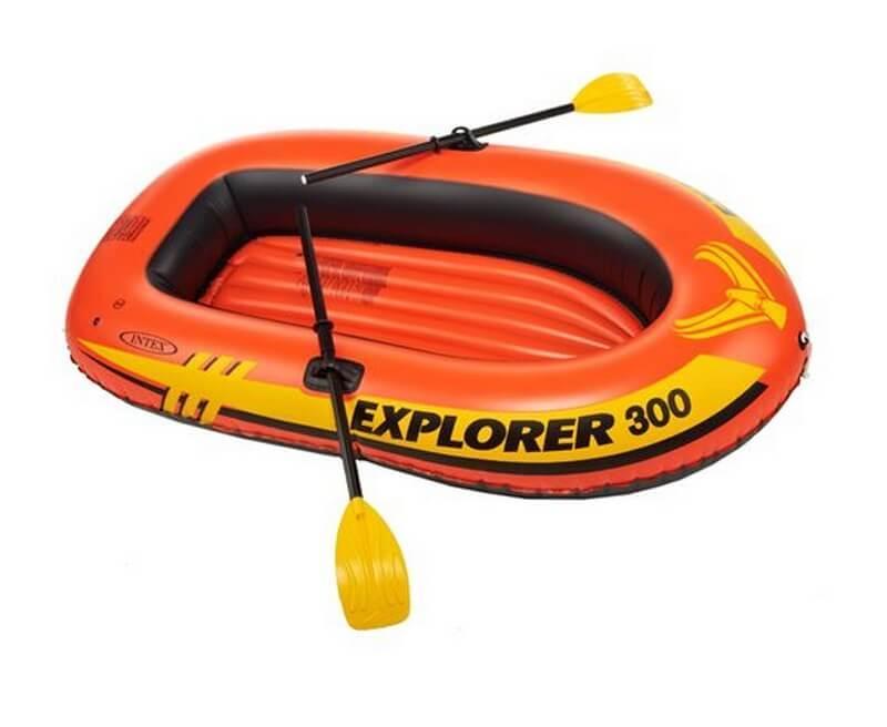 Надувная лодка гребная Explorer Intex 58332, весла, насос, надувное дно, резиновые лодки