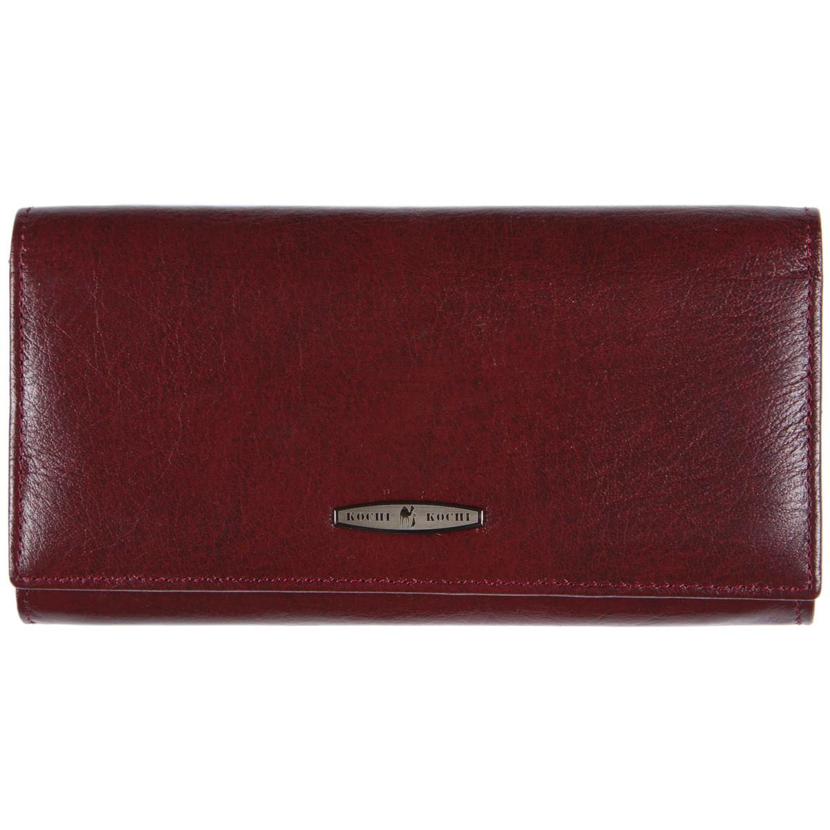 Кожаный женский кошелёк KOCHI с застёжкой кнопка 185х95х30 цвет темная вишня м К-306виш