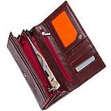 Кожаный женский кошелёк KOCHI с застёжкой кнопка 185х95х30 цвет темная вишня м К-306виш, фото 2