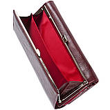 Кожаный женский кошелёк KOCHI с застёжкой кнопка 185х95х30 цвет темная вишня м К-306виш, фото 3