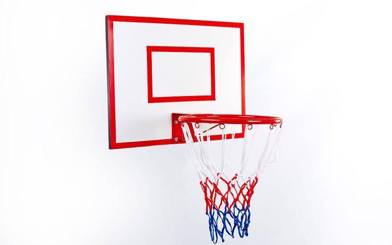 Щит баскетбольный с кольцом и сеткой UR LA-5383 (щит-ламин.ДСП,р-р 60x50см, кольцо d-30см, сетка NY)