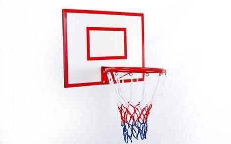 Щит баскетбольный с кольцом и сеткой UR LA-5383 (щит-ламин.ДСП,р-р 60x50см, кольцо d-30см, сетка NY), фото 2