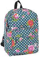 Легкий женский рюкзак в горошек с цветами 13L Paso 17-780D