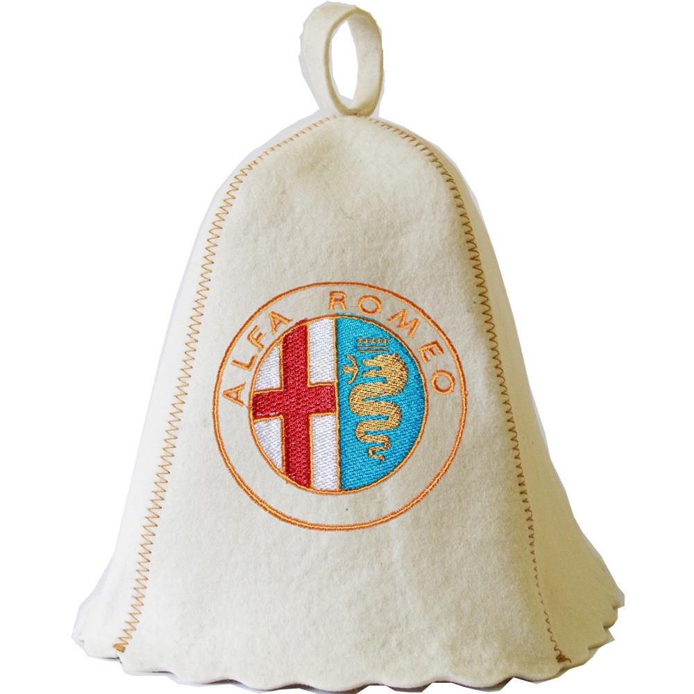 """Банная шапка Luxyart """"Alfa Romeo"""", натуральный войлок, белый (LA-180)"""