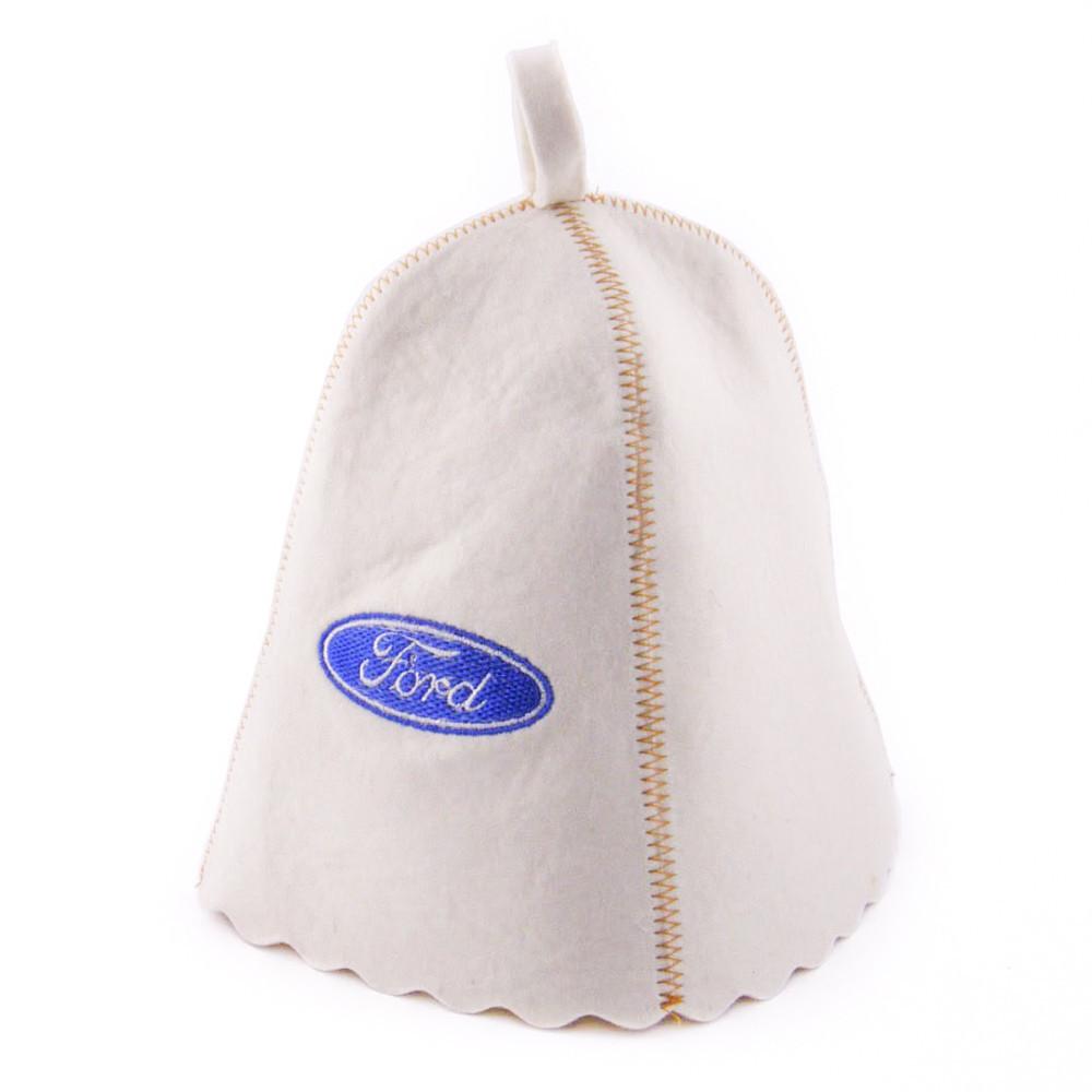 """Банная шапка Luxyart """"Ford"""", натуральный войлок, белый (LA-184)"""