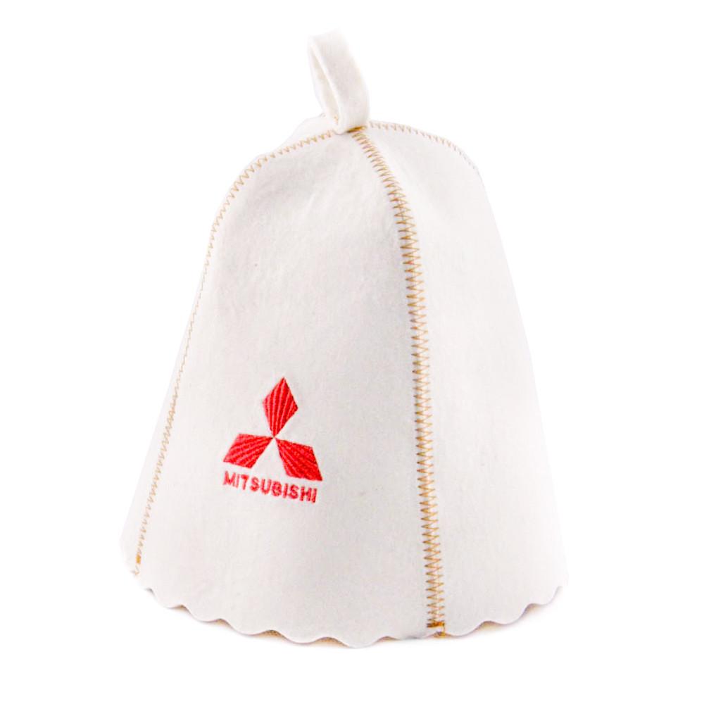 """Банная шапка Luxyart """"Mitsubishi"""", натуральный войлок, белый (LA-189)"""
