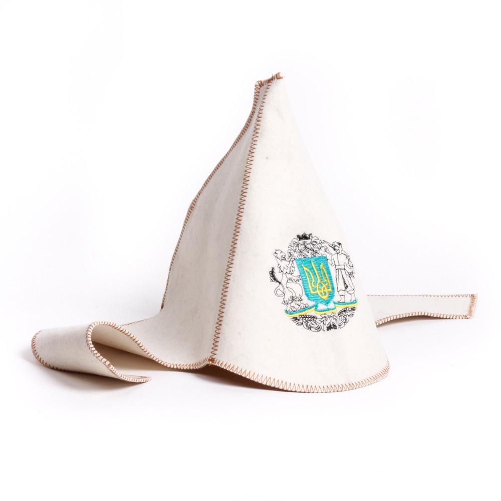 """Банная шапка Luxyart """"Буденовка"""", натуральный войлок, белый (LA-277)"""