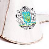 """Банная шапка Luxyart """"Буденовка"""", натуральный войлок, белый (LA-277), фото 2"""