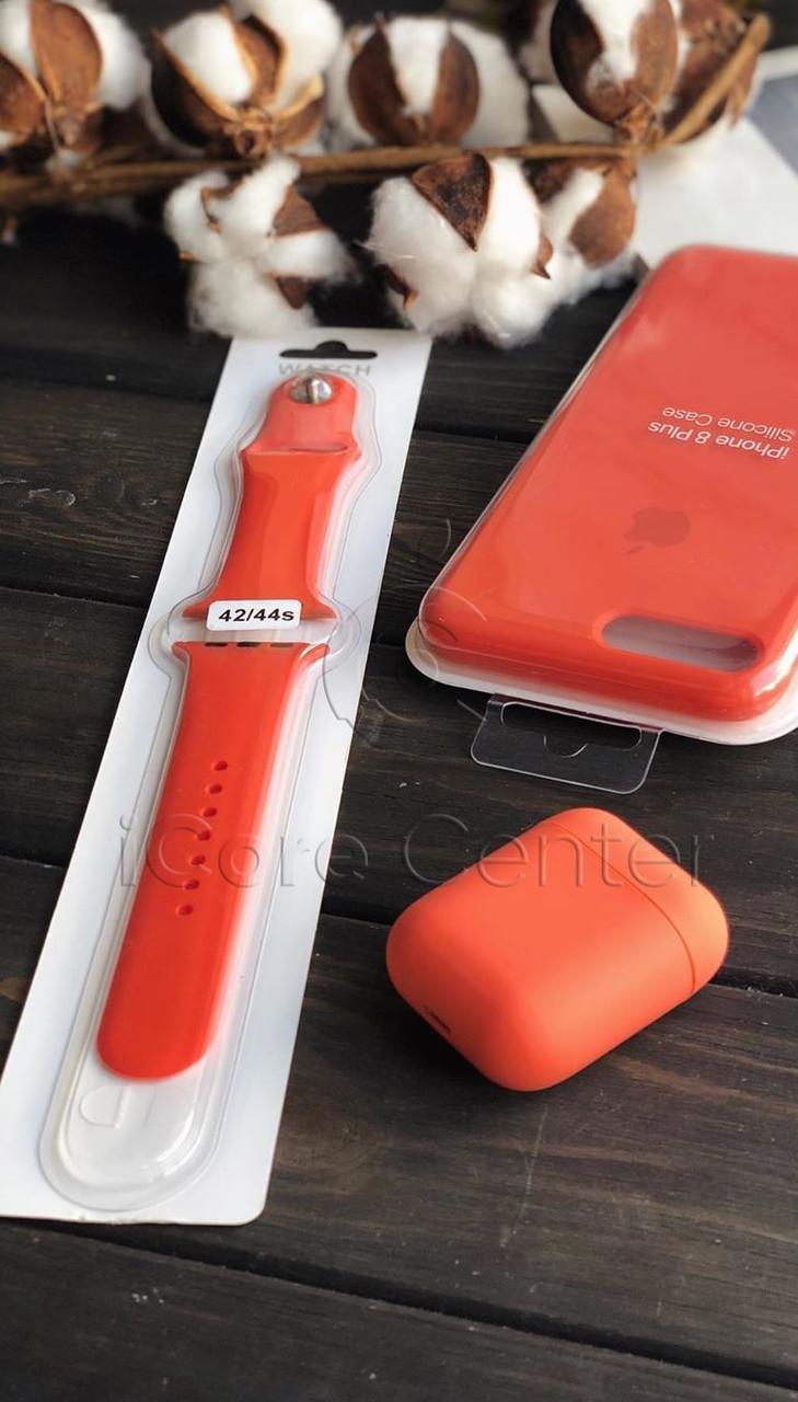 Силиконовый ремешок для apple watch 38 / 40 мм  Sport Band orange (Оранжевый)