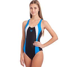 Купальник жіночий спортивний ARENA SCRIBBLE B V NECK AR-2A768-58 (розмір 30-40-USA, чорний-синій-білий)
