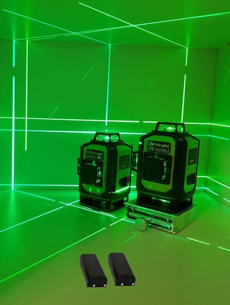 Лазерный уровень Fukuda MW94D 4GJ. 《МЕГА КОМПЛЕКТ》《2 шт Li-ion 4000mAh》СЕРЕБРЯНЫЕ ДИОДЫ》