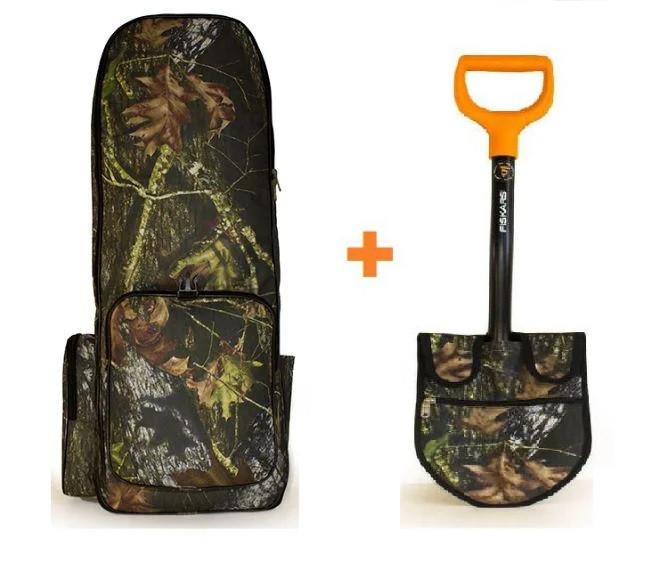 СУПЕРКОМПЛЕКТ! Рюкзак для металлоискателя «ЛЕС» Oxford 600d + Fiskars Solid 131417 + чехол на лопату