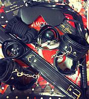 Набор черный Садо-мазо, фетиш, BDSM.БДСМ .Плетка, веревка 5 м.,маска, кляп,наручники 2 пары, ошейник.1, фото 1