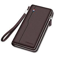 Кошелек клатч мужской кожаный. Бумажник из натуральной кожи BISON DENIM (коричневый)
