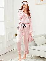 Комплект шелковый в полоску для сна, дома из 7 предметов. Пижама женская в стиле VS, размер XL (розовый)