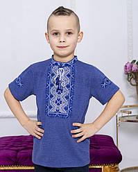 Детская вышиванка Зорянчик  ,ткань лакоста,р  110,116,122,128,134,140,146,152, джинс з синім