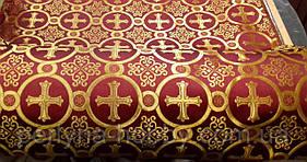 Тканина церковна Коринф Бордова, шовк золото.