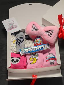 Подарочный набор женский трусики 3шт Бананы, повязка OMG, носки 3 шт (Банан,Панда,Единорог), Kinder,Bounty