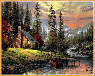 Картина для рисования по номерам Пейзаж Охотничий домик 40х50см Babylon Turbo