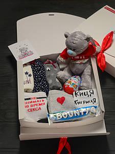 Подарочный набор женский трусики 3шт SHINE, мишка Teddy, носки 3 шт (Не снимать во время секса,Сердце)
