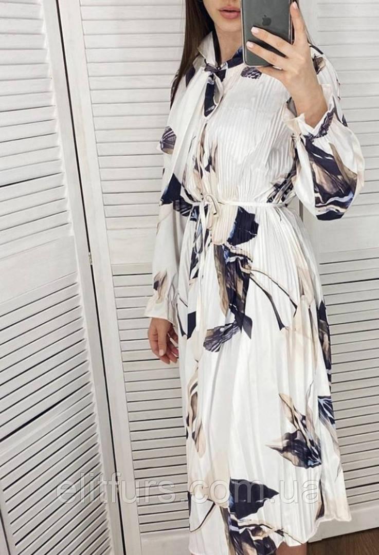 Платье-рубашка шифоновое с крупным принтом