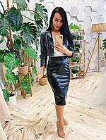 Стильный костюм из эко-кожи жакет и юбка Blackberry, фото 1