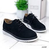 Женские туфли из эко-замши черные, 41 размер
