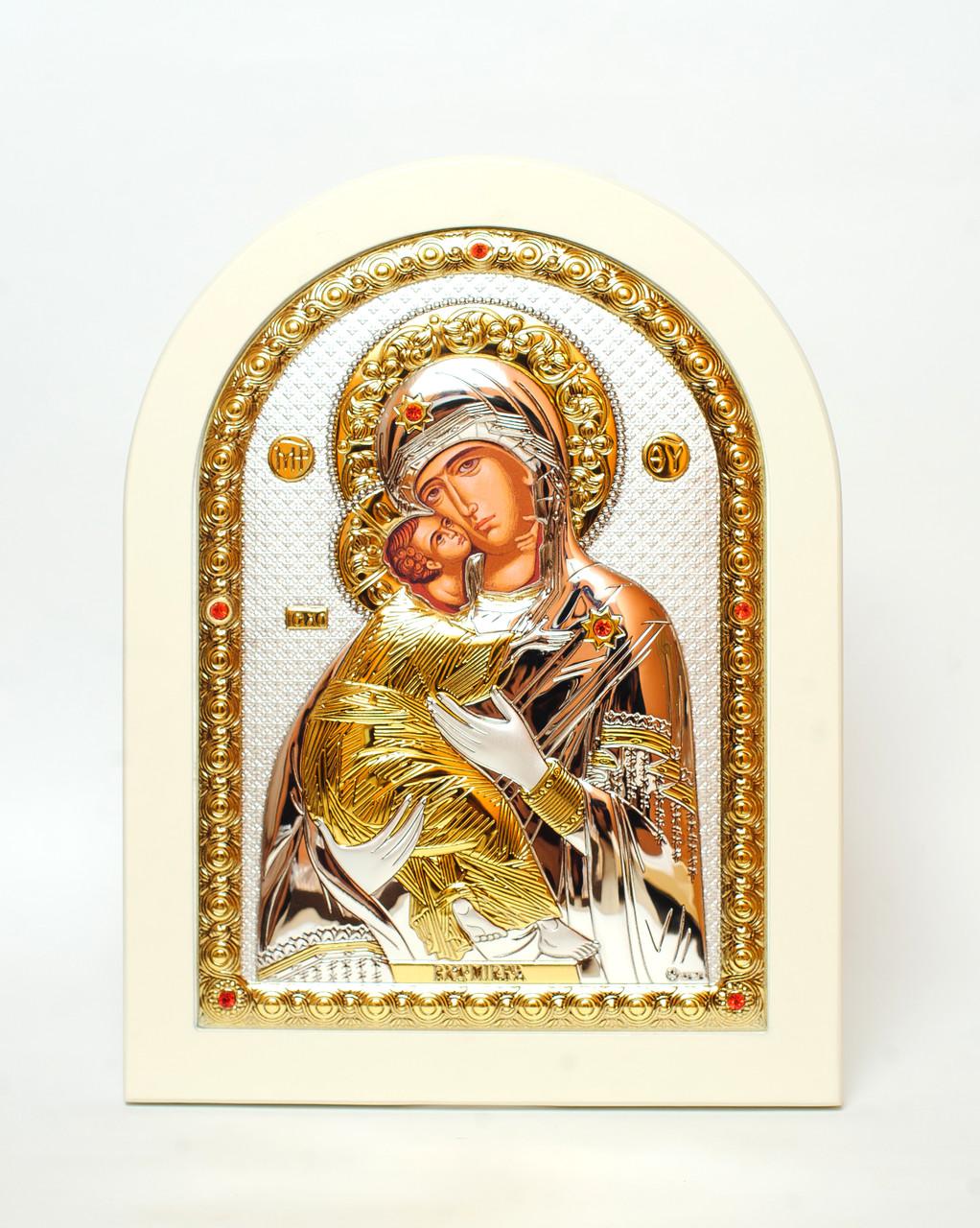 Владимирская Божья Матерь, серебряная икона на белом дереве 20х25см