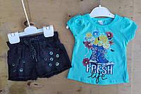 Костюм на девочку, 1-4 года, джинсовые шорты, футболка трикотаж,  Fresh, бирюза