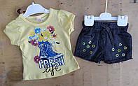 Костюм на девочку, 1-4 года, джинсовые шорты, футболка трикотаж,  Fresh, лимонный