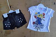 Костюм на девочку, 1-4 года, джинсовые шорты, футболка трикотаж,  Fresh, белый
