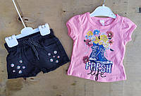 Костюм на девочку, 1-4 года, джинсовые шорты, футболка трикотаж,  Fresh, розовый