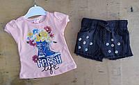 Костюм на девочку, 1-4 года, джинсовые шорты, футболка трикотаж,  Fresh, персиковый