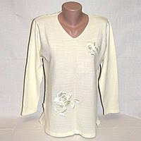 Туника, кофточка женская, джемпер нарядный с вышивкой, цвет кремовый р. 46-48 б/у