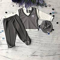 Крестильный костюм, набор на выписку для мальчика Miniworld 6. Размер 68 см