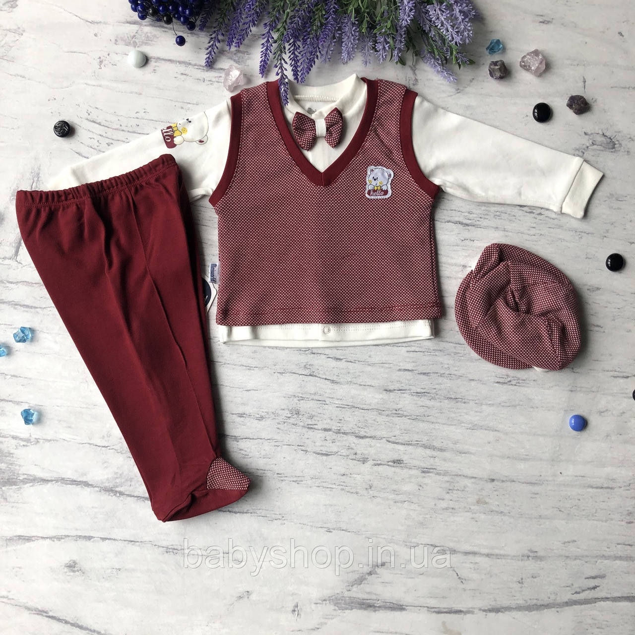 Хрестильний костюм, набір джентльмен для хлопчика Miniworld 10. Розмір 68 см