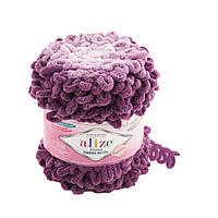 Пряжа Alize Puffy Ombre Batik 7427 (Ализе Пуффи Омбре батик) 600г с петлями, петельками,для вязания руками