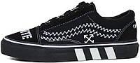 Мужские кеды OFF-WHITE x Vans Old Skool 2020 Black (Ванс Олд Скул ОФФ Вайт) черные