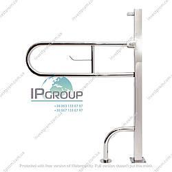 Поручень для инвалидов откидной напольный усиленный с держателем бумаги, ручка ∅32 мм, нержавеющая сталь.