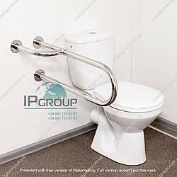 Настенный поручень для туалета, с дополнительной ножкой (универсальный), ручка ∅32 мм, нержавеющая сталь.