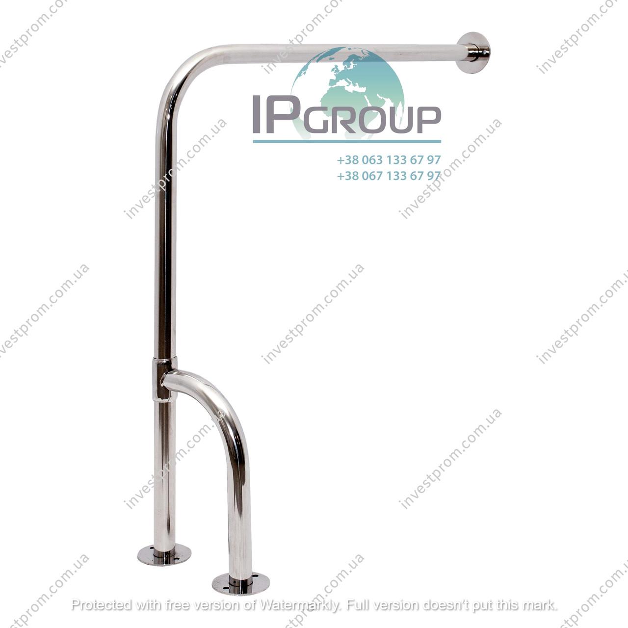 Поручни для туалета, для инвалидов угловой усиленный стена-пол,  ручка ∅32 мм, нержавеющая сталь.