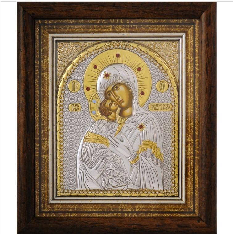 Икона Владимирскаой Богородице 23,3х25,7 по стеклом в серебре и позолоте