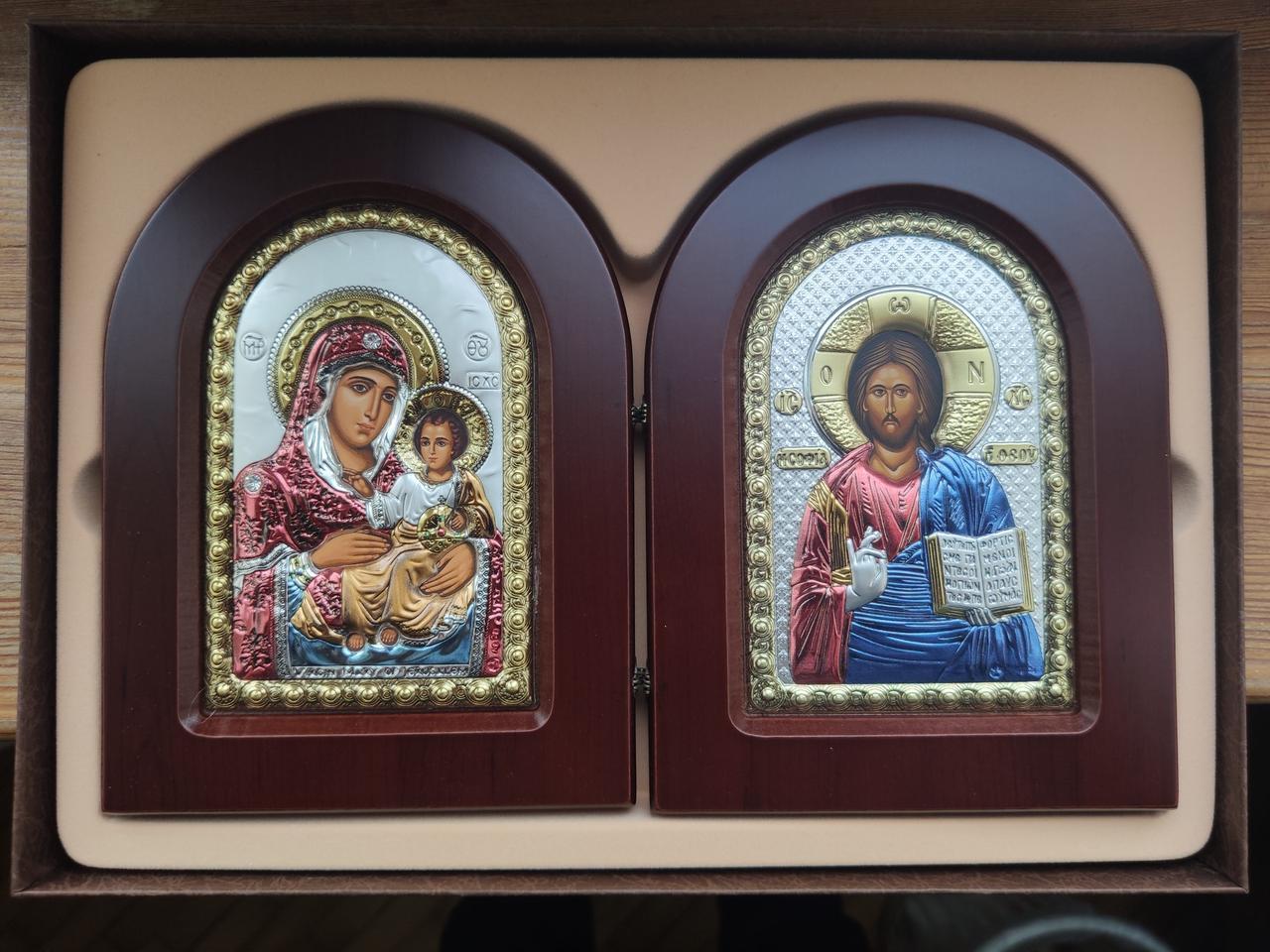 Пара икона Ерусалимская Богородица и Иисуса  10х14см  серебряный оклад украшеный разноцветной ємалью