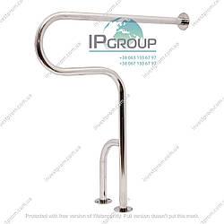 Поручень для инвалидов в санузел с дополнительной опорой в пол,  ручка ∅32 мм, нержавеющая сталь.