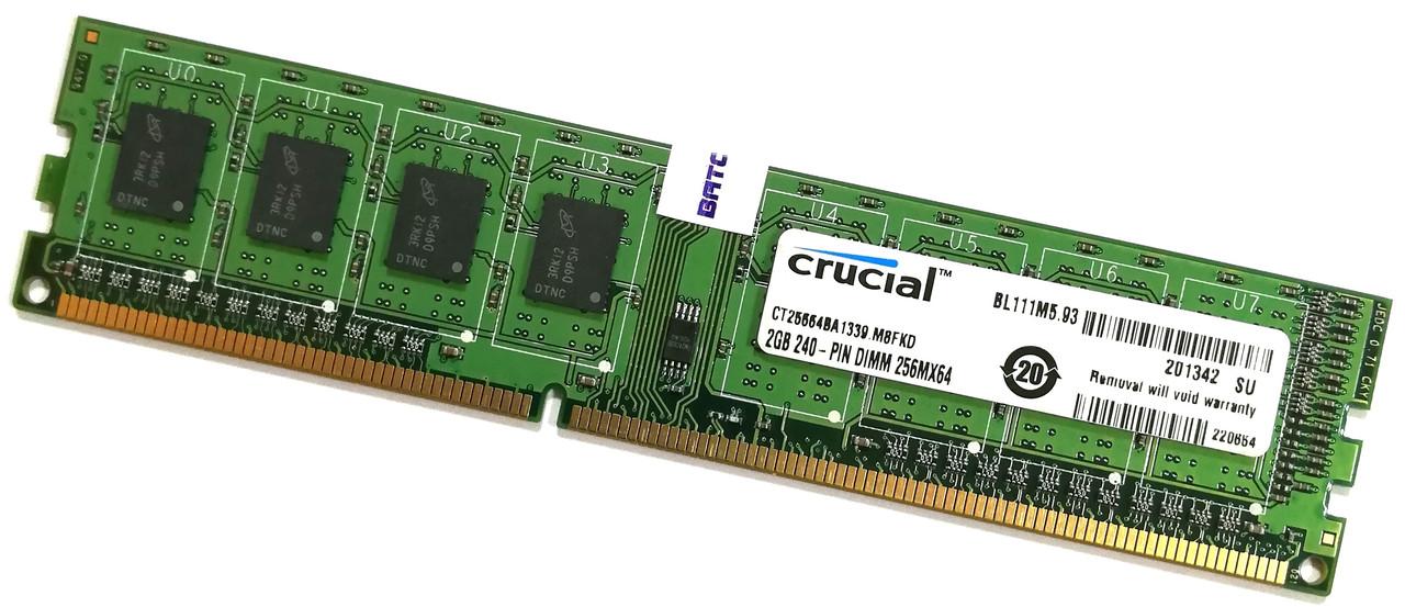 Оперативная память Crucial DDR3 2Gb 1333MHz PC3-10600U CL9 2R8 (CT25664BA1339.M8FKD) Б/У