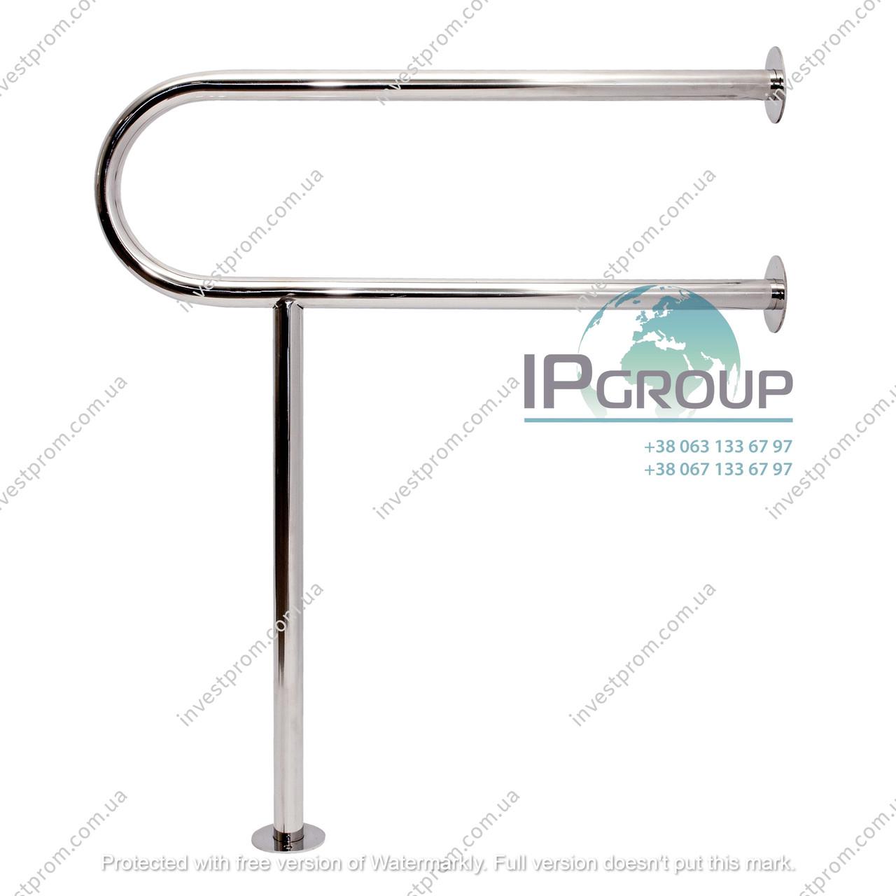 Поручни для инвалидов в туалет стена - пол, ручка ∅32 мм, нержавеющая сталь.