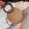 Плетенная сумка круглая из ротанга на цепочке, Женские сумки опт 2020, Плетеная сумка бежевая AL-3606-16, фото 3