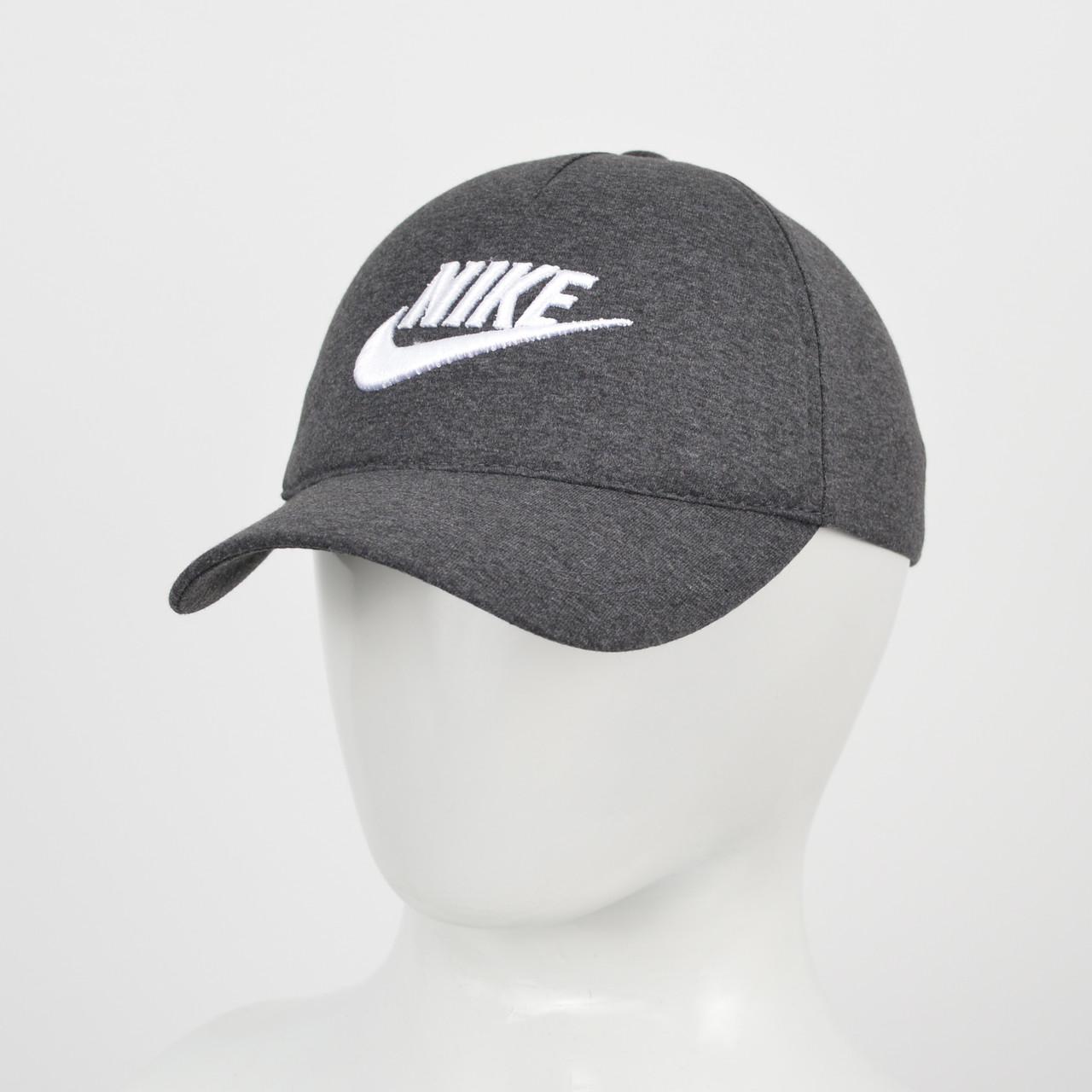 """Бейсболка """"Великий знак"""" Nike сірий меланж +білий"""