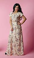 Длинное женское платье в пол с поясом в тон платья, фото 1
