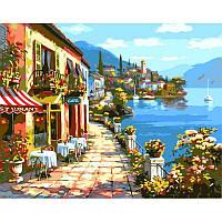 Картина по номерам Уютное кафе. Худ. Ким Сунг, 40x50 см., Babylon VP017 Городской пейзаж, дома
